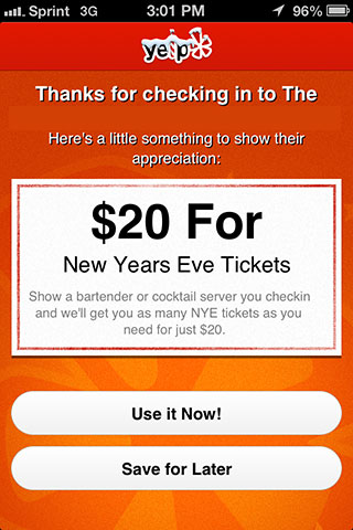 sales tickets with yelp check-in deals